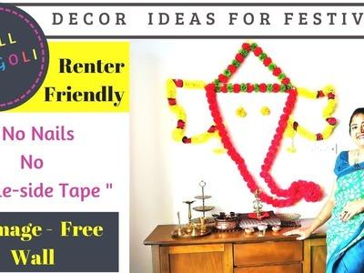 Ganpati Decoration Ideas For Home- DIY Ganesha Wall Rangoli using Command Hooks!