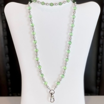 Green Faceted Bead and White Pearl Lanyard