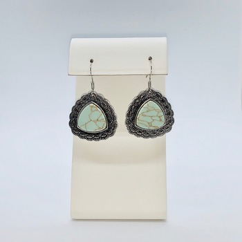 Green Turquoise Scalloped Triangle Earrings
