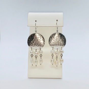 Hammered Round Silver with Ivory Pearl Earrings