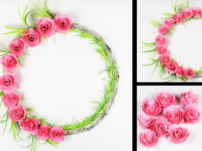 How To Make Easy paper flower wall hanging | Newspaper wall hanging