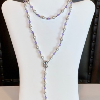 Lavender Bicone Bead and White Pearl Rosary