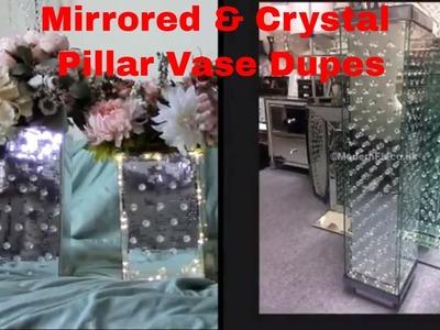 Mirrored and floating crystal pillar vase dupe DIY Modern FL