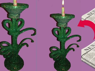 Newspaper candle stand || craft with paper ||best out of waste||dustu pakhe