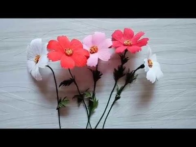 Paper Flower making. How to make cosmos flowers from crepe paper or duplex paper.