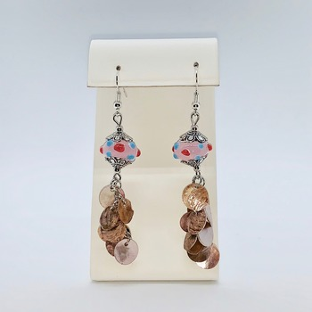 Pink Polka Dot Glass Bead Earrings