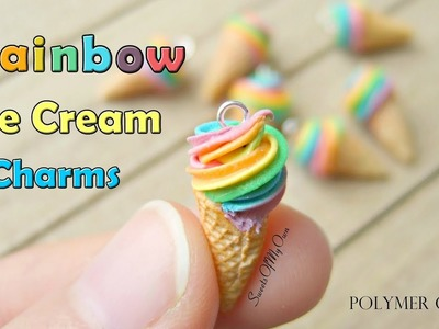 Polymer Clay Rainbow Ice Cream Charms - How To Tutorial