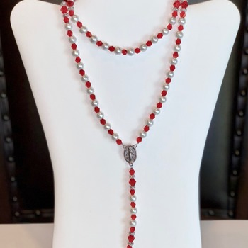 Red Bicone Bead and White Pearl Rosary