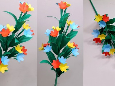 Stick Flower: Very Colorful Paper Stick Flower Making Step By Step||Flowers|Jarine's Crafty Creation