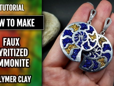 Unique video!! Stylish Earrings with Pyrite Ammonite from Polymer clay!
