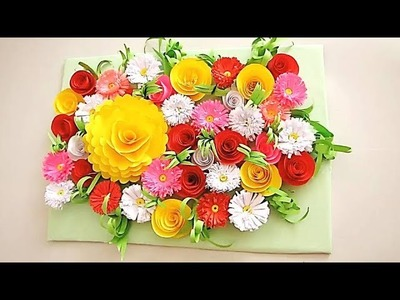 Wall Decoration Ideas 17 | Beautiful Wall Hanging Making at Home | Paper Flower Wall Hanging