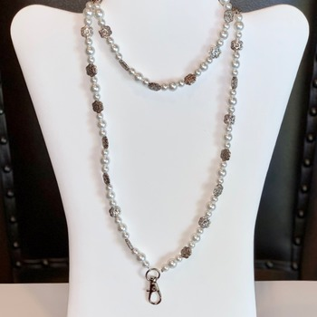 White Pearl and Antique Silver Flower Bead Lanyard