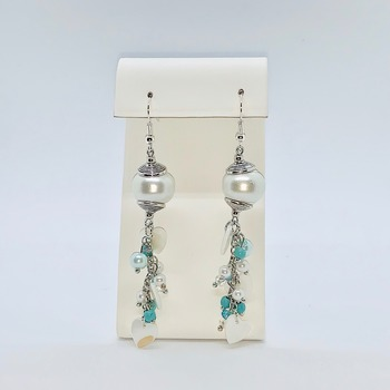 White Pearl, Turquoise Bead and White Shell Earrings