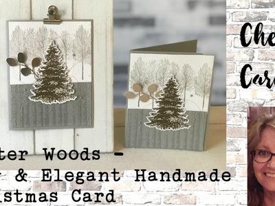 Winter Woods Stampin' Up! Holiday Catalog Elegant Simple Handmade Christmas Softly Shimmer Card