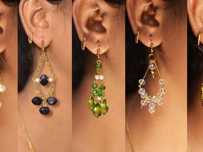 5 easy Pearl & Crystal Earring Design   DIY   5 min Craft   Hand made jewelry   Art with Creativity