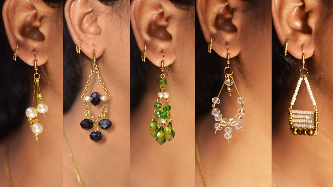 5 easy Pearl & Crystal Earring Design | DIY | 5 min Craft | Hand made jewelry | Art with Creativity