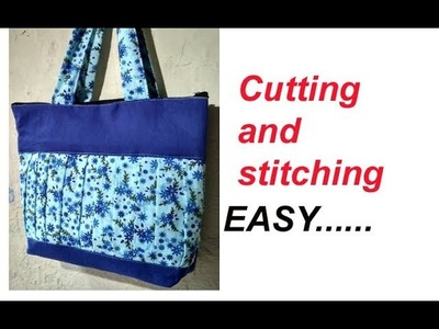 DIY cutting stitching of handmade handbag in hindi.shopping bag with zipper.travel bag