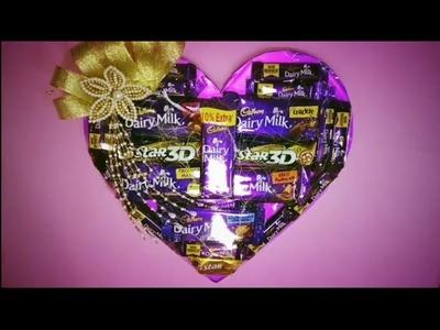DIY;HOW TO MAKE CHOCOLATE HAMPER IN HEART SHAPE,
