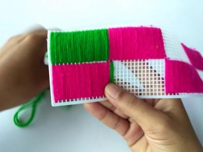 DIY - HOW TO MAKE DOOR TORAN PATTI MAKING FROM PLASTIC NET || WOOLEN DOOR HANGING TORAN PATTI MAKING
