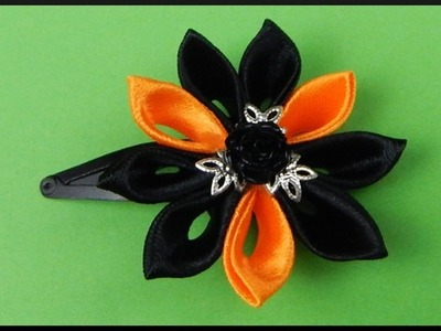 DIY Kanzashi Ribbon Flower | Halloween Hair Clip | Stoff Blumen Halloween Haarclip