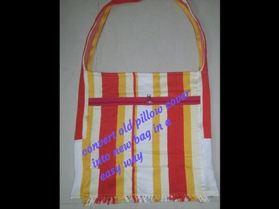 DIY Super Easy Shopping Bag. Trendy College Bag made from old pillow cover
