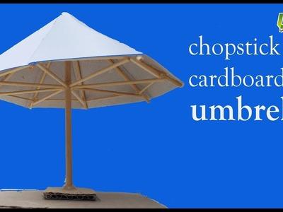 How to make cardboard and chopsticks umbrella, DIY paper umbrella