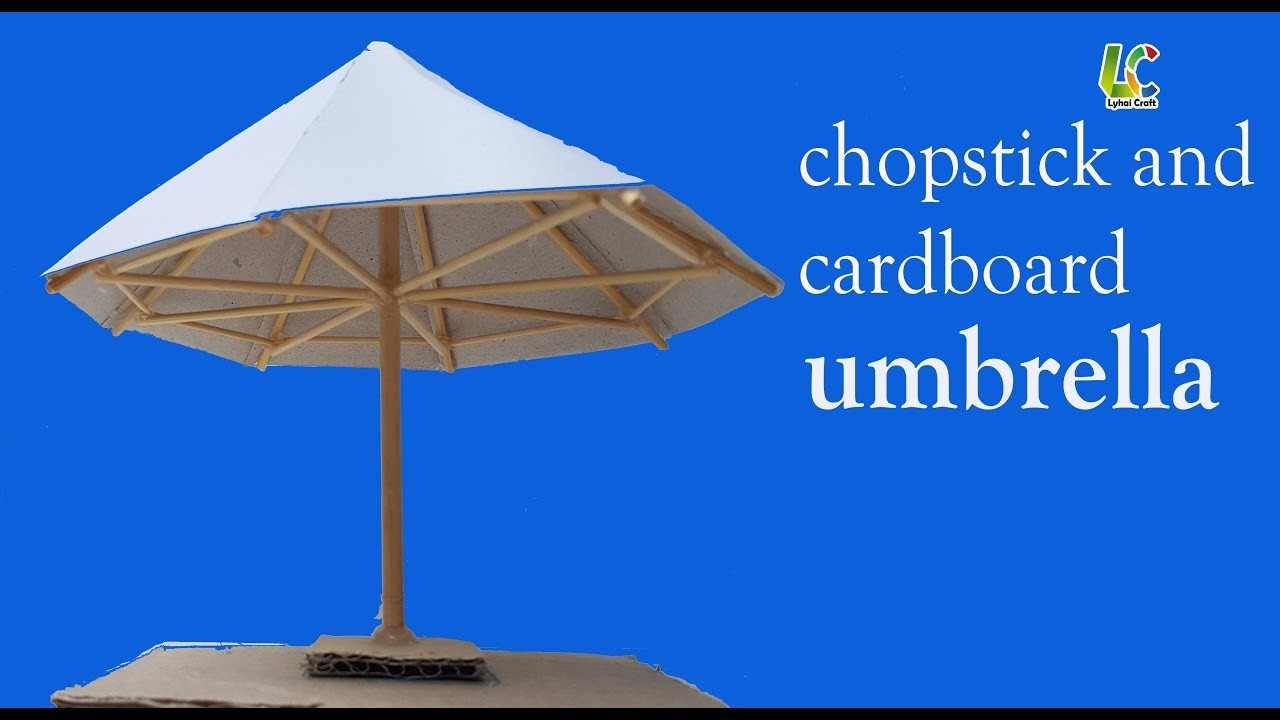 How to make cardboard and chopsticks umbrella, DIY paper umbrella