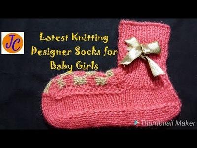 Knitting Designer SOCKS for Baby Girls #  2-3 Years # L. 12, (Hindi) : Jasbir Creations