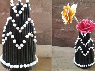 Paper craft ideas.Diy.Paper flower vase. pen stand. Best out of waste.