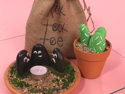 3 Simple DIY Ideas with Smooth Rocks! Tea Light, Tic Tac Toe, and Mini Rock Garden