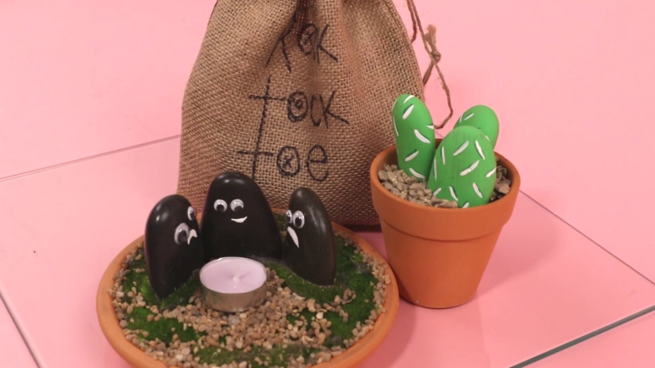 3 Simple DIY Ideas with Smooth Rocks! Tea Light, Tic Tac Toe, and Mini Rock Garden