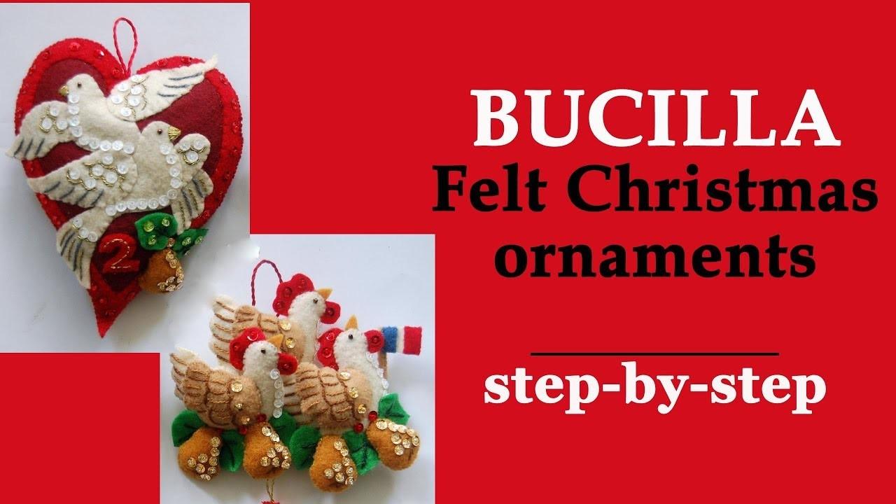 Bucilla felt Christmas ornaments step-by-step. DIY. I lost the chart!