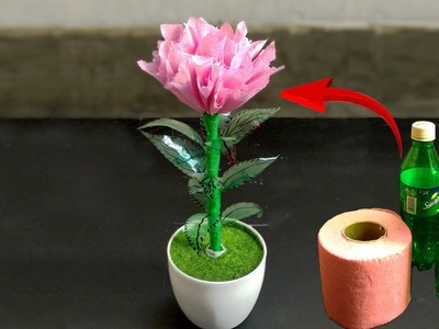 Crafts with plastic bottles and tissue paper   best out of waste   artificial flower tree