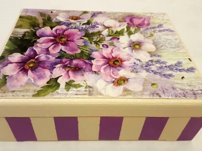 Decoupage box with stripes and rice paper-DIY