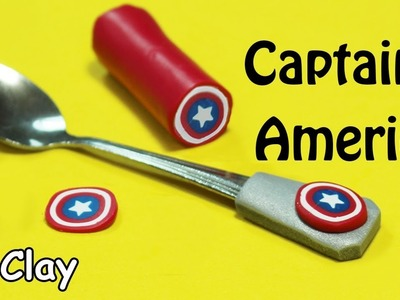 DIY Captain America's shield -  Spoon decorated - Polymer Clay tutorial
