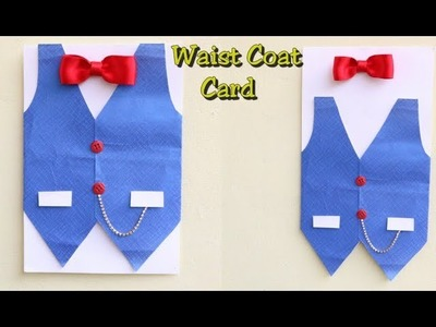 DIY Father's day Card.Waist Coat Card with Bow Making Idea.Father's Day Gift Ideas