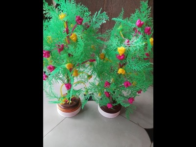 Diy!! How make to Flower by plastic Vire and leafs!!new design 2018