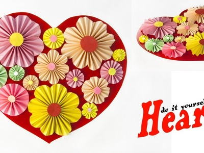 DIY Paper Heart Wall Hanging - Paper flowers Wall - Room decor - Gifts Ideas