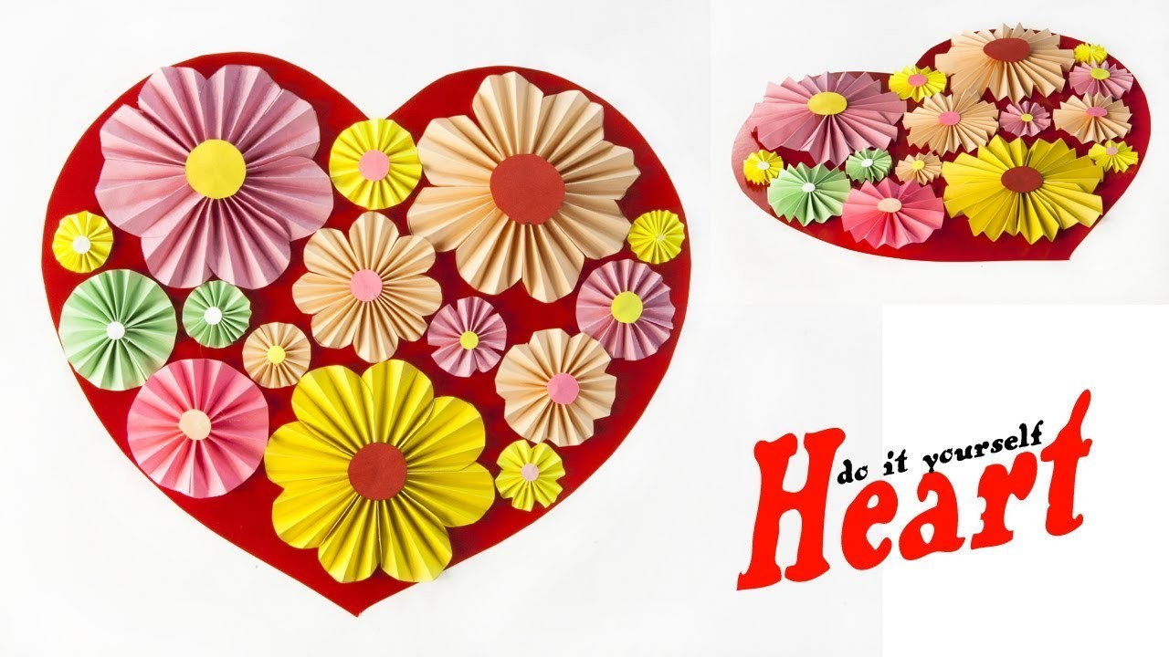 Diy Paper Heart Wall Hanging Paper Flowers Wall Room Decor