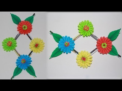 DIY. Simple Home Decor. Wall hanging flower Bedroom decoration ideas