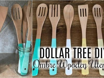 DOLLAR TREE DIY   FARMHOUSE OMBRE WOODEN UTENSILS
