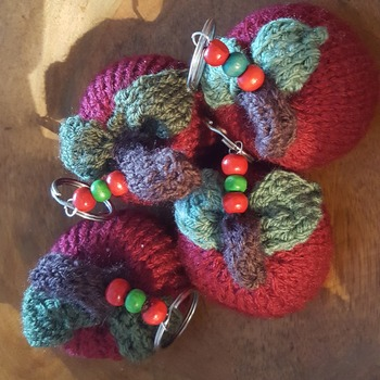 Hand knitted apple keyring