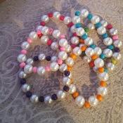 Handmade pearl bead and wooden bead bangle