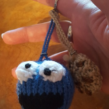 Knitted cookie monster keyring