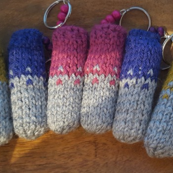 Knitted lip balm keyring
