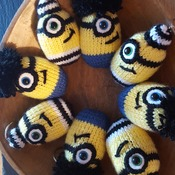 Knitted minion keyring