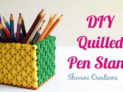 Quilled Pen Stand for Father's Day. DIY Paper Quilling Pen Stand