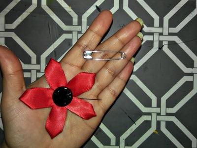 #1 5 Petal Single Layered - Satin Ribbon Flower || Kanzashi Flower || DIY Hijab Pin.হিজাব পিন