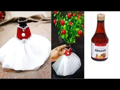 Bridal bottle decorating  idea#for a syrup bottle.diy best out of waste bottle craft