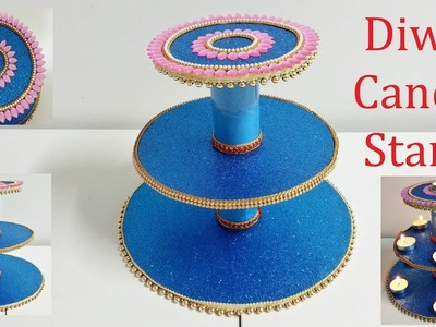 DIY Candle Stand Using Waste Materials.Diya Stand For Diwali And Navaratri.Diwali Decoration Ideas